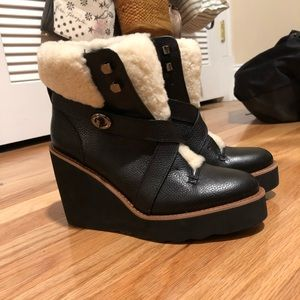 COACH shearling leather wedges. Never been worn!